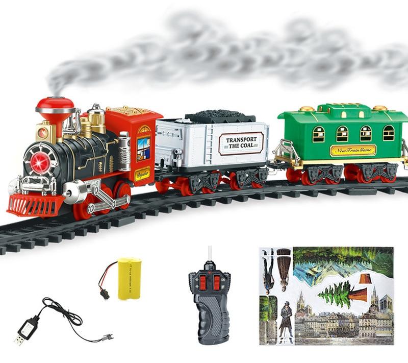 Electric Steam Smoke Simulation Railroad Railway RC Train Car Carriage Kit Light Remote Control Kid Toy Christmas Birthday Gift