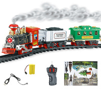 Electric Steam Smoke Simulation Railroad Railway RC Train Car Carriage Kit Light Remote Control Kid Toy Christmas Birthday Gift
