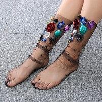 Women's Handmade Sequins Flowers Socks Lolita Ladies Girl's Transparent Mesh Floral Pearl Socks Gauze Sock Sex Female Hosiery