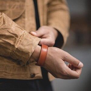 Image 3 - Maden מכתב עור קאף צמידי לגברים מתכוונן בעבודת יד צמיד חאקי צמיד חום הדפסת הודי Thunderbird תכשיטים