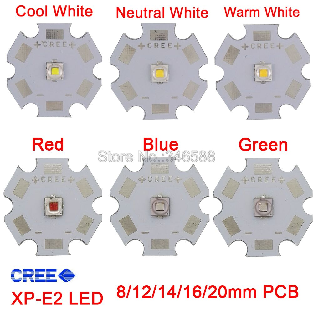Cree 5W XPE2 XP-E2 High Power LED Emitter Diode On 8mm/ 12mm/ 14mm/ 16mm/ 20mm PCB, Neutral White/Warm White/Cool White Red Blue