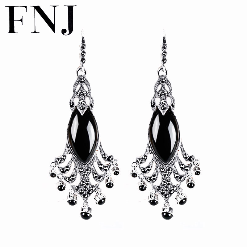 FNJ Peacock Tail Drop Earring Natural Black Stone Synthetic Red Blue Corundum 925 Silver for Women S925 Sterling Silver Earrings