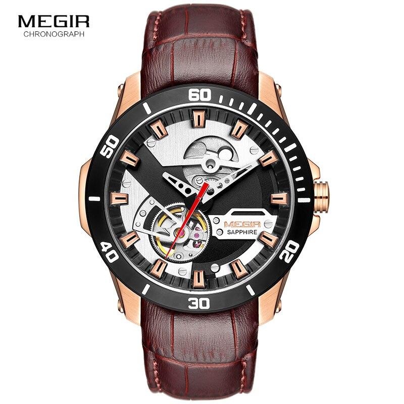 MEGIR Men's Leather Sport Hand Wind Mechanical Watches Top Brand Luxury Waterproof Wristwatch Relogios Masculinos Clock ML62069
