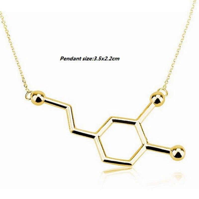 1 Pc New Arrival Xinh Xắn Hóa Học Yếu Tố Mặt Dây Dopamine Phân Tử Xương Đòn Dây Chuyền Vàng Mạ Bạc Nữ Trang Sức