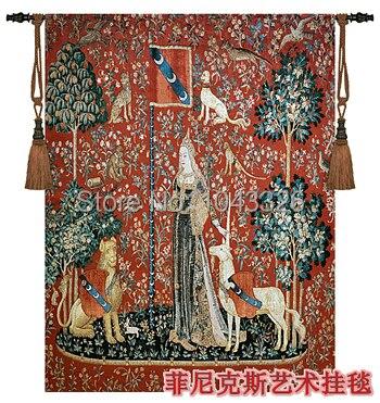 Tessili per la casa della decorazione unicorno senso del tatto Belgio arazzo medievale di attaccatura di parete 140 cm x 107 cm pt-67