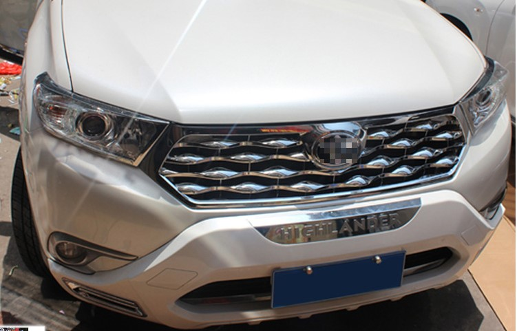 ABS chrome Front Grille Around Trim Racing Grills Trim For Toyota Highlander 2012 2013 2014 Car styling 1PC