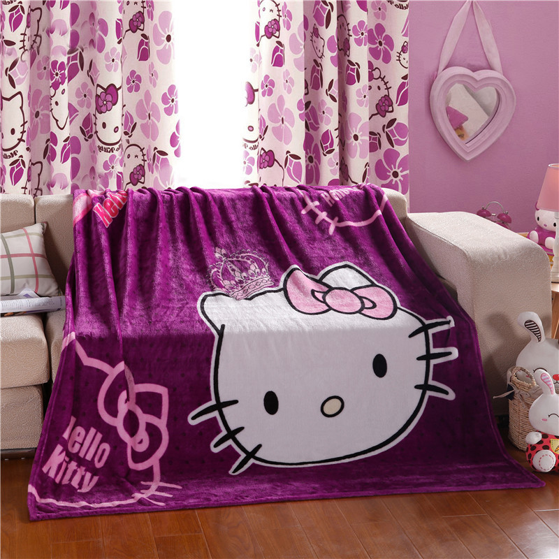 Cartoon Hello Kitty Kt Cat Purple Pink Plush Flannel