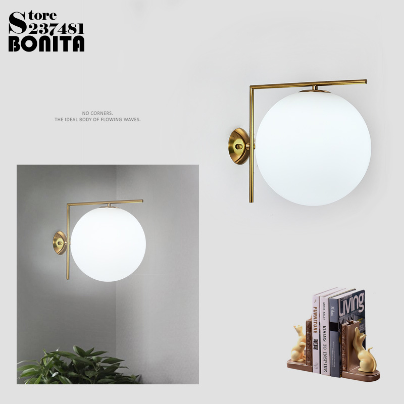 Modern White Glass Wall Lamp D20cm Round Ball Hallway Wall Light Sconce New