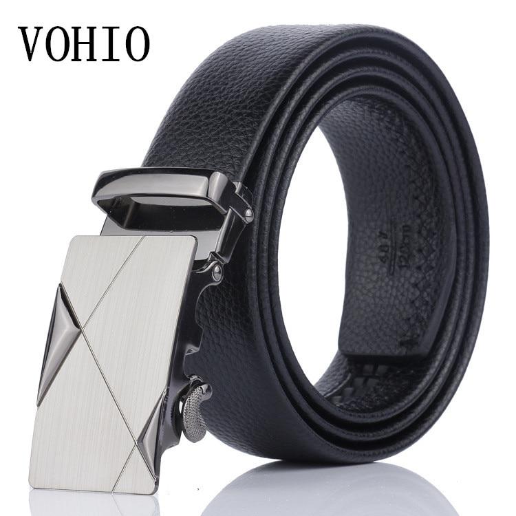 VOHIO Free shipping black Men's belt high-grade automatic buckle belts leisure business leather belt manufact belt of 140cm size