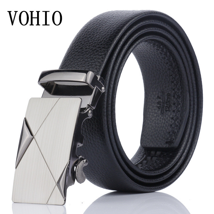 VOHIO Free shipping black Men's   belt   high-grade automatic buckle   belts   leisure business leather   belt   manufact   belt   of 140cm size