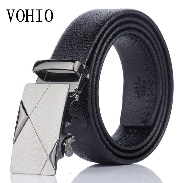 Vohio frete grátis preto cinto masculino de alta qualidade cintos de fivela automática lazer negócios cinto de couro manufact cinto de 140cm tamanho