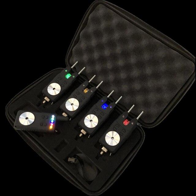Черный 4 1 сигнализация для прикуса карпа, беспроводная Цифровая Сигнализация для прикуса, световой сигнал, водонепроницаемый, для ловли карпа