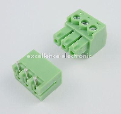 100 Pcs 3.81mm Pitch 3 Pin Angle Screw Pluggable Terminal Block Plug Connector цена