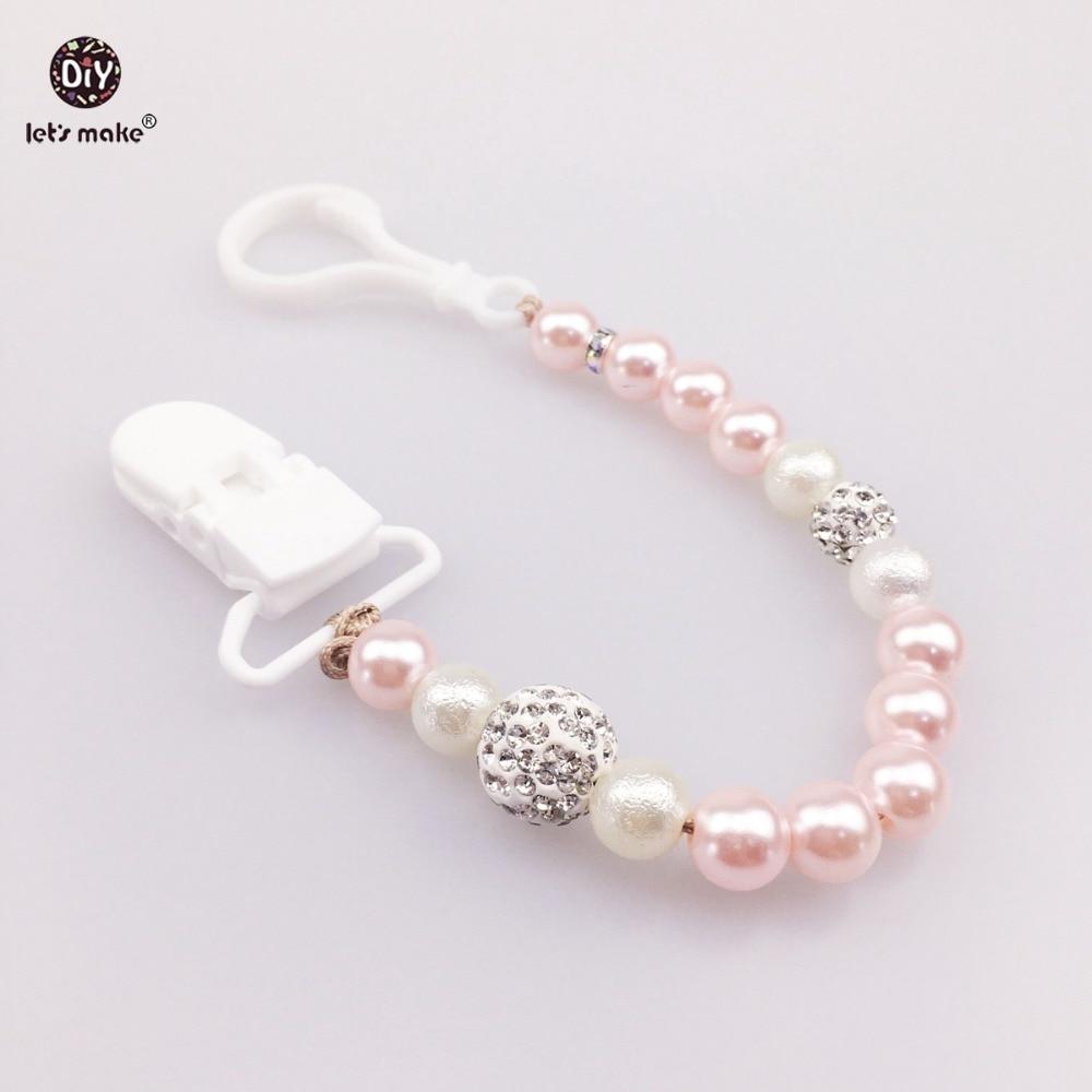 Låt oss göra Imitation Pearl Smycken Pacifier Holder Miljövänliga Baby Accessoarer Akryl Pärlor Classic Smycken Baby Teether