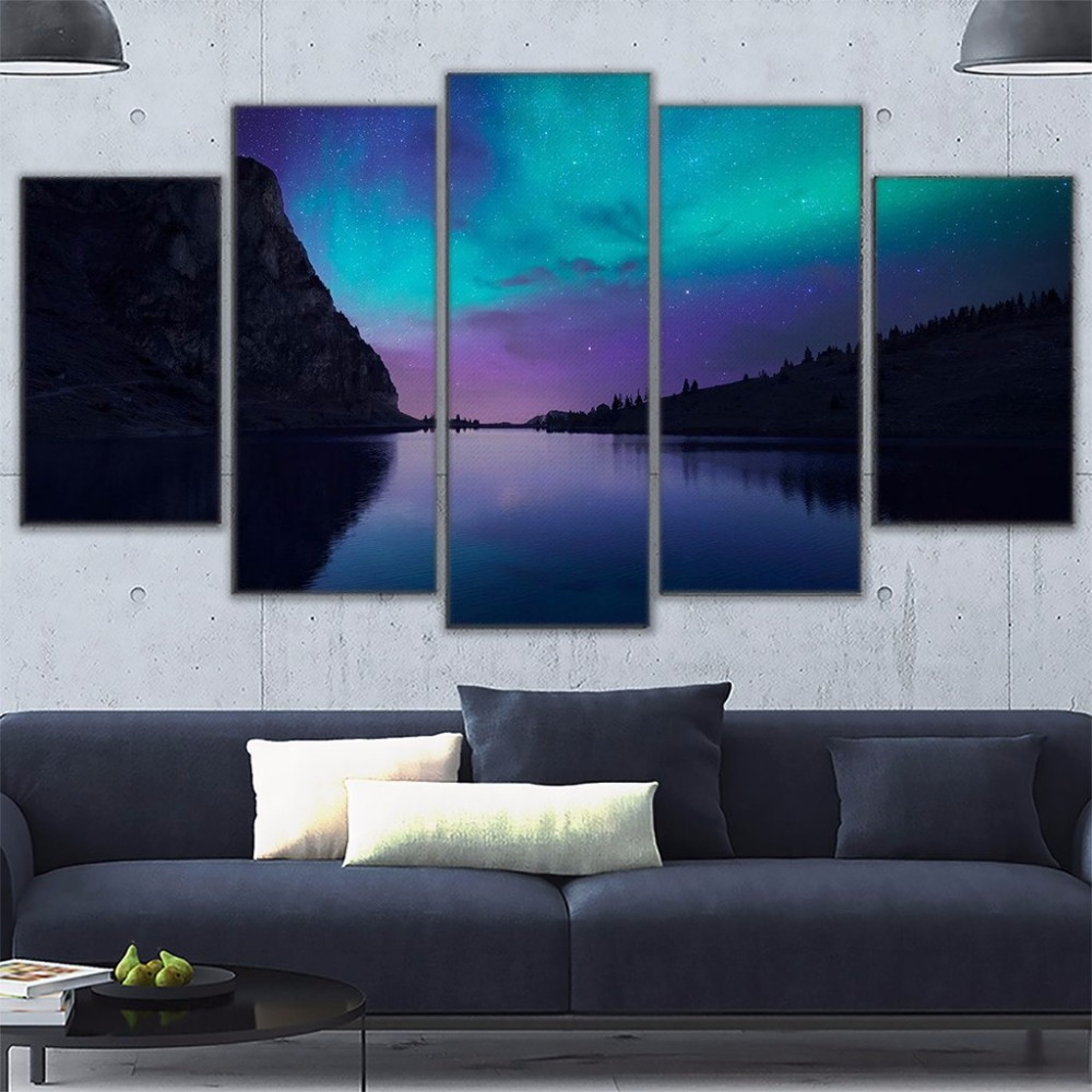 Modular Canvas Print Poster Frame 5 Pieces Aurora Borealis Light Mountain Nature Reflection Picture Home Decor Wall Art Painting