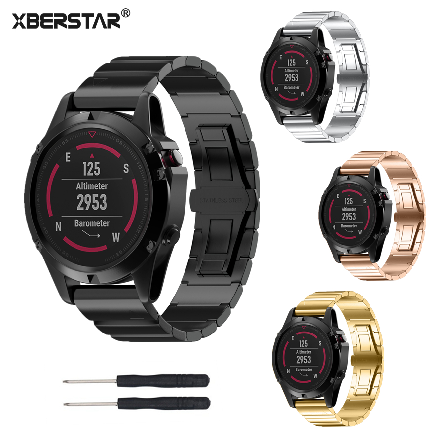 XBERSTAR Strap Watchband for Garmin Fenix 5X Multisport GPS Training Watch Stainless Steel Watch Band Bracelet Strap 4 Colors joyozy strap watchband for garmin fenix 5 fenix5 multisport gps watch 22mm sports silicone quick release wrist band with tools