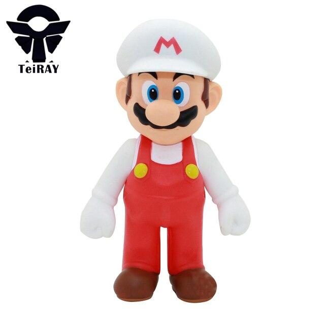 Anime Super Mario Bros sombrero blanco Mario mini PVC figuras de acción  modelo juguete juguetes niños a547b2a97c3