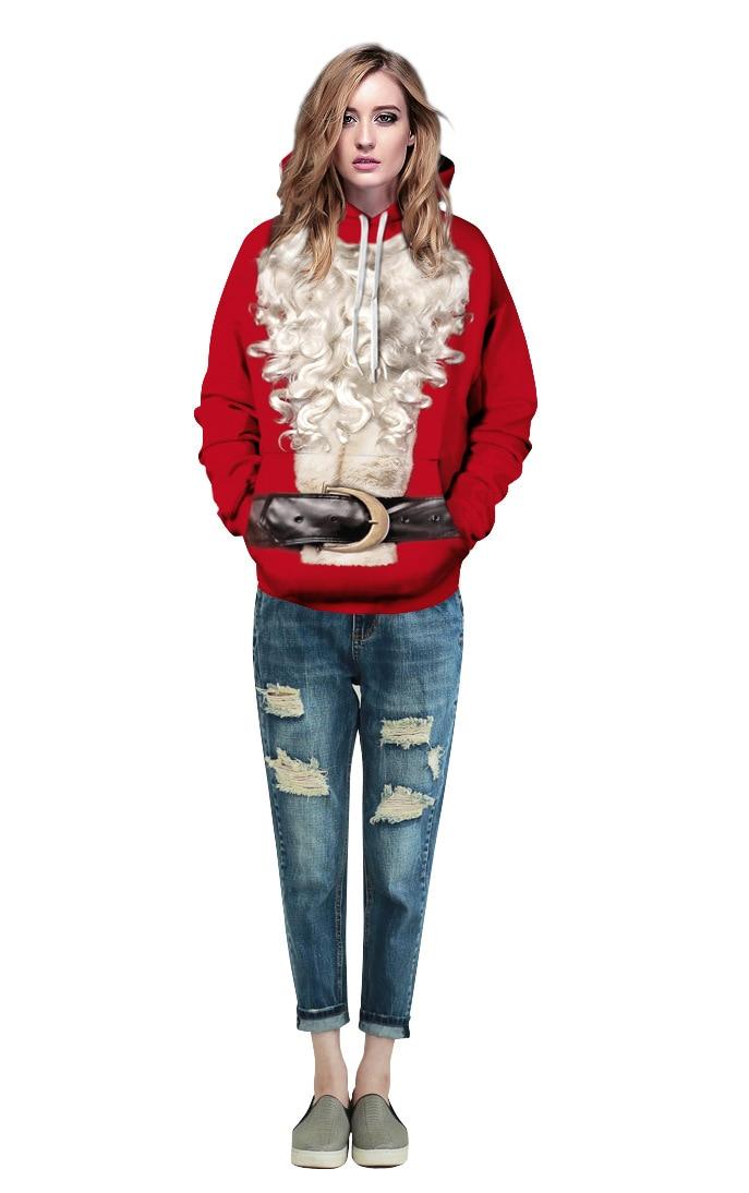 Echoine Women Santa White Beard Red Christmas Sweatshirt 2017 New Men Autumn Hooded Sweatshirt Large Size Hoodies Hoody Pullover