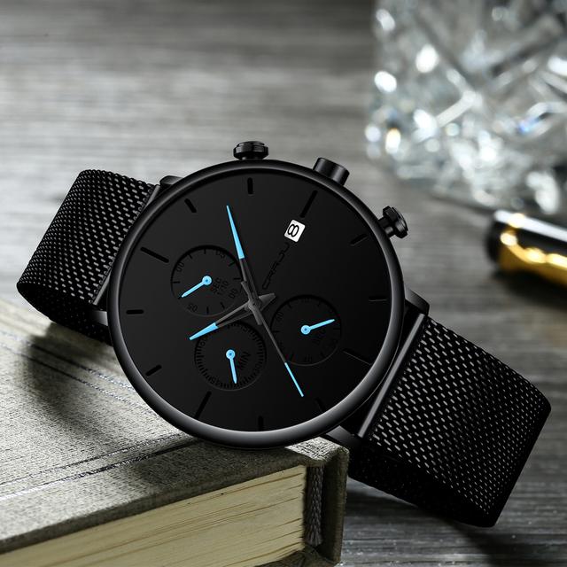 CRRJU Fashion Watch Men Waterproof Slim Mesh Strap Minimalist Wrist Watches For Men Quartz Sports Watch Clock Relogio Masculino