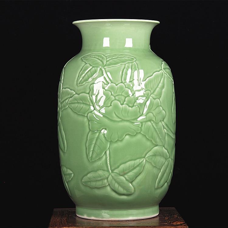 jingdezhen cermica sombra verde profundo tallado florero peona moderna sala de estar decoracin vaso de piso grande
