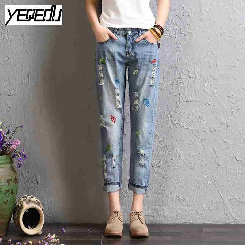 1710 2017 Summer Vintage jeans with embroidery Fashion Harem jeans Thin Loose Distressed jeans femme