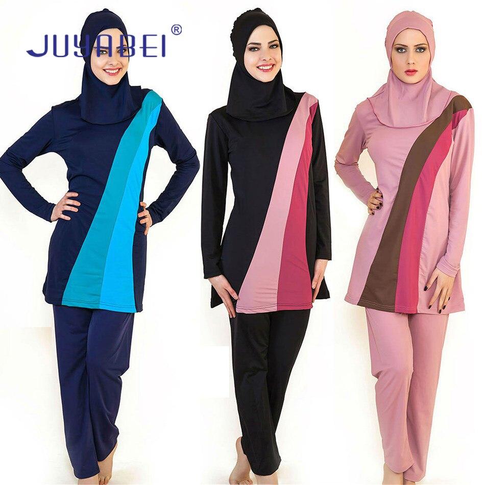 JUYABEI Women font b Muslim b font Swimwear Modest Patchwork Full Cover Long Sleeve font b