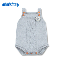 Autumn Baby Bodysuits Clothes Fashion Flower Knitted Newborn Infant Kids Girl Sleeveless Onesie Outfit Toddler Children Jumpsuit