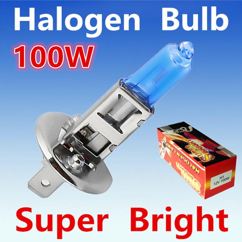 2pcs  H1 100W 12V Halogen Bulb Super Xenon White Fog Lights High Power Car Headlight Lamp Car Light Source parking 6000K