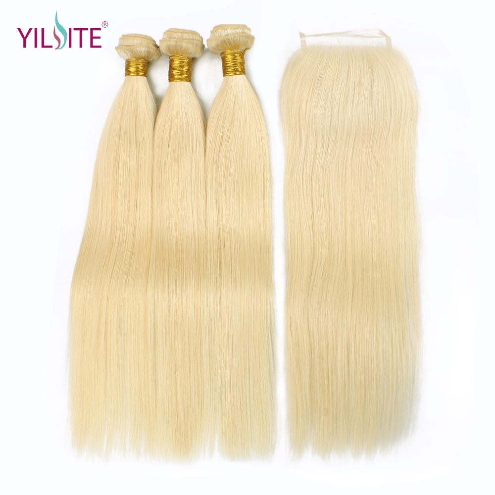 YILITE Straight 613 Blonde Non-Remy Human Hair Bundles With Closure 3 Bundles With 4x4 Lace Closure For Hair Salon