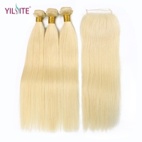 YILITE Straight 613 Blonde Non Remy Human Hair Bundles with Closure 3 Bundles With 4x4 Lace Closure For Hair Salon