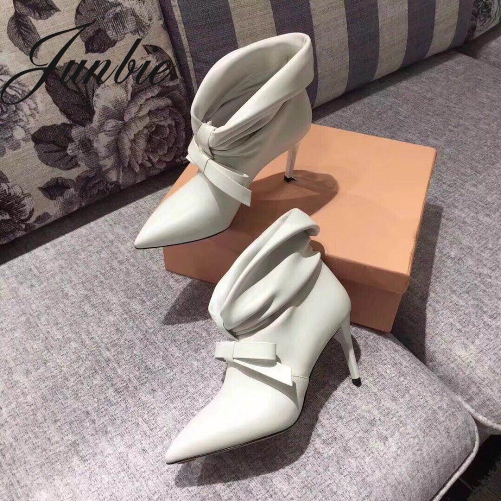 Automne as Chaussures Bout Bowtie Nouveau Hiver Plissée Pic Sexy En Véritable As Pic Junbie Cuir Femmes Bottes Pointu Bottines qOATnwS