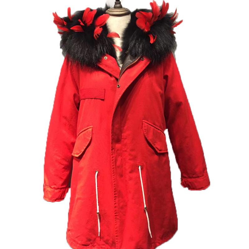 Solid Feather Warm Fox Fur Collar Coat Women Winter Real Fox Fur Liner Hooded Jacket Women Bomber Parka Female Ladies FP101205 red shell warm raccoon fur collar coat women winter real fox fur liner hooded jacket women long parka female ladies fp891
