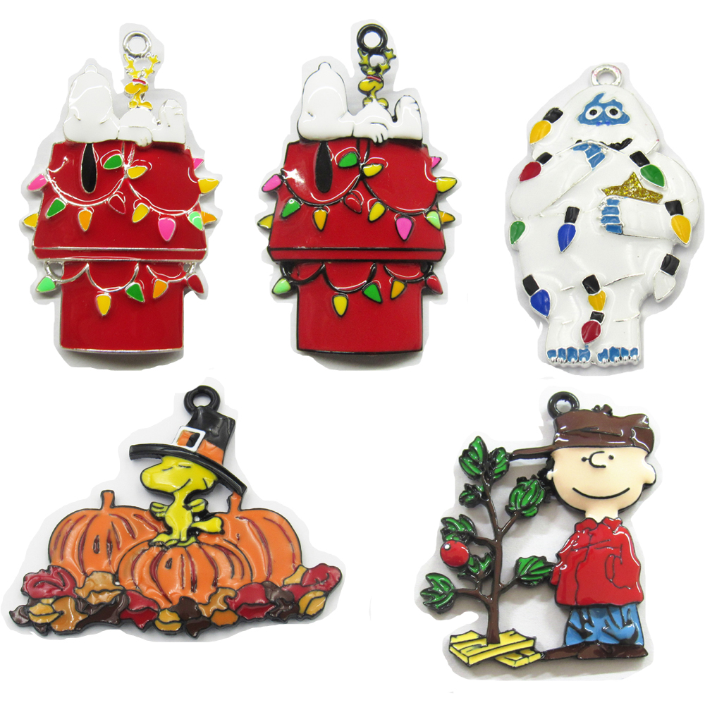 ( Choose Design First ) 10pcs/bag Christmas Thanksgiving Characters Series Full Enamel Pendants For DIY Necklace Making christmas bell enamel pendant necklace