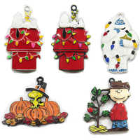 ( Choose Design First ) 10pcs/bag Christmas Thanksgiving Characters Series Full Enamel Pendants For DIY Necklace Making