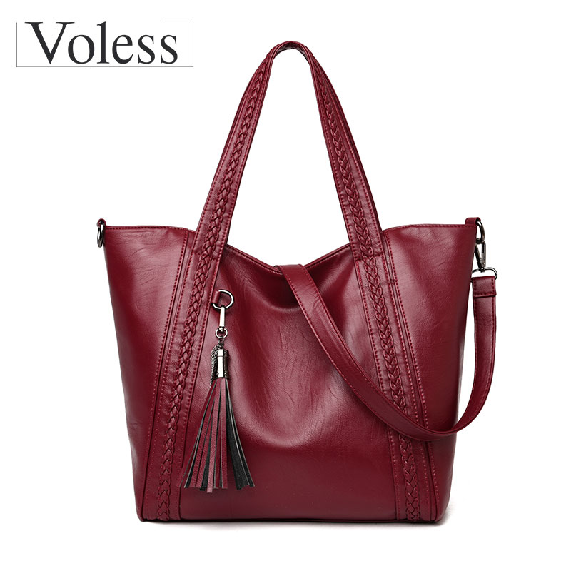 VOLESS Brand Soft Leather Women Handbags Large Capacity Tassel Shoulder Ladies Bags Casual Female Tote Bags Sac A Main 2018 New 2017 large soft leather bag women handbags ladies crossbody bags for women shoulder bags female big tote sac a main famous brand