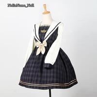Kawayi Naval Academy Style Long Sleeves Plaid Lolita Dresses 2017 Cosplay Costumes