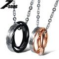 Romantic Couple Necklaces & Pendant Double Circle Lovers' Pendant Necklace Fashion Stainless Steel Women Men Jewelry Gift,JM860X