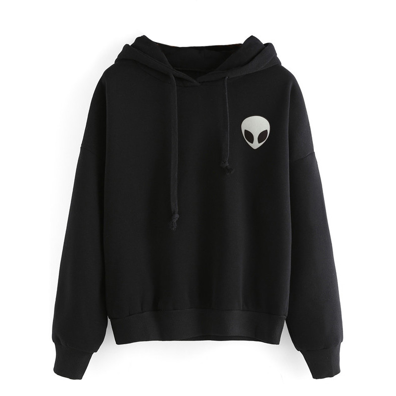 OnnPnnQ Casual Wear Pullovers Unisex Women Men Boy Girl Clothing Alien Print Hooded Long Sleeve Fashion Sweatshirt black grey