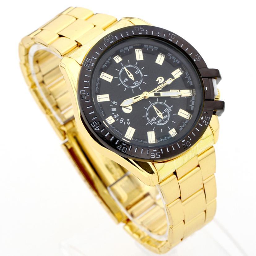 4 Colors Man Watches Mens Black Dial Gold Stainless Steel Date Quartz Analog Sport Watch Reloj De Los Hombres Wristwatch Mens