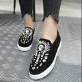 Otoño Planos Ocasionales Zapatos de Las Mujeres Del Dedo Del Pie Redondo Señoras Embarazadas Resbalón Mocasines Creepers Alpargatas Mocasines de fondo grueso Diamante
