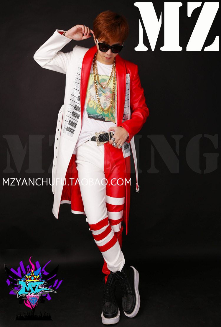 Men Fashion Leather Jacket Dj Red White Piano Ironed Ablazely Long Leather Suit Coat Singer Costumes Clothing Male Trench Coat