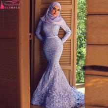 Luksusowe eleganckie suknie ślubne z długim rękawem muzułmaninem suknie ślubne arabski turcja panny młodej suknie ślubne syrenka długa sukienka Z340 tanie tanio Pełna Koronki Wysoka NONE Długość podłogi zipper Syrenka trąbka Skrzydeł REGULAR Naturalne TANYA BRIDAL