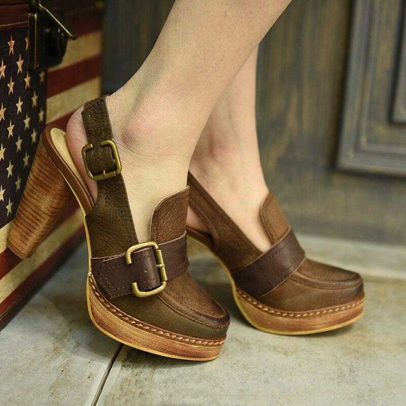 Artmu/Artdiya الأصلي جديد الرجعية سميكة الكعوب جلد طبيعي الصنادل اليدوية منصة مشبك النساء الأحذية 16015 3-في كعب عالي من أحذية على  مجموعة 1