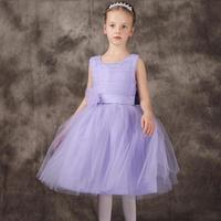 Sweet Purple Girls Dresses With Kow In The Back Flower Girl Dress Kids Fashion Vestido For 1 12 Years Old Child Clothes KD 1418