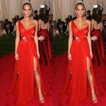 New Met Gala Hannah Davis Sexy Red Carpet Celebrity Dresses Chiffon Backless Split Side Floor Length Custom Made Vestido