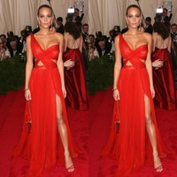 2015 New Arrive Red A Line Sexy Red Carpet Celebrity Prom Dresses Chiffon Backless Split Side