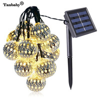 Tanbaby 10 LED Moroccan Ball Solar String Lights 3M Fairy Globe Lantern Decorative Lighting for Holiday Party Christmas Tree