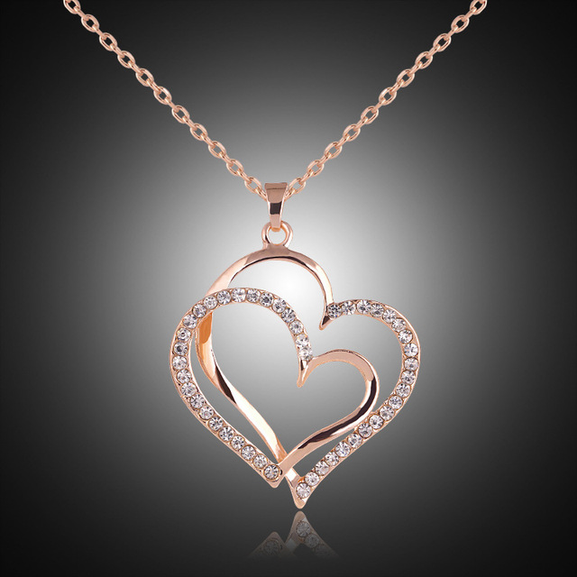 Crystal Double Heart Pendant Necklaces 1