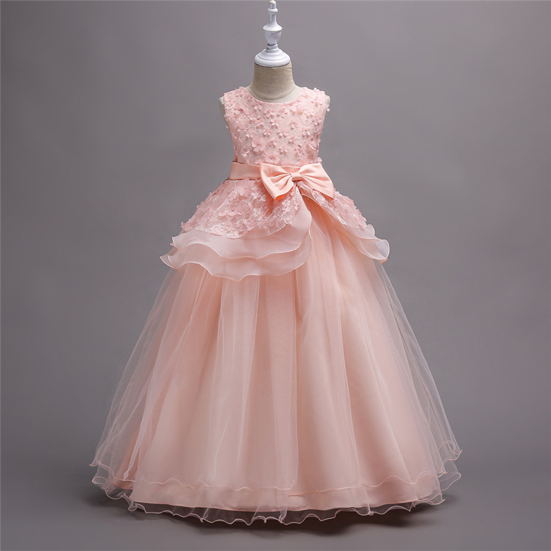 New Teenage Girls Dresses Kids Princess Lace Gowns Girls Dresses Children 5 6 7 8 9 10 11 12 13 14 15 16 Years Old Party Dress children princess clothes white grey lavender pink dresses kids 5 6 7 8 9 10 11 12 13 years long party dress girls wedding gowns