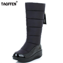 Lady Winter Warm Snow Boots Fashion Platform Fur Cotton Shoes Flat Heels Knee High Boots Women Pu Leather Boots Size35-40